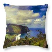 Waipo Valley Lookout-big Island Hawaii Throw Pillow