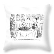 Waiter Reads The Specials To A Man At Dinner Throw Pillow