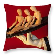 Waiter Serving 3 Dummies Throw Pillow by Bob Christopher