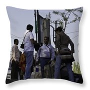 Waiting At The Top Of The Steps Next To The Dal Lake In Srinagar Throw Pillow