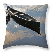 Waiting Canoe Throw Pillow by Renee Forth-Fukumoto