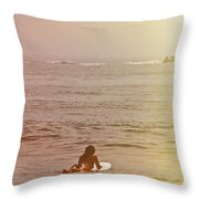 Waiting For A Wave Throw Pillow