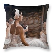 Waiting For Curtain Throw Pillow