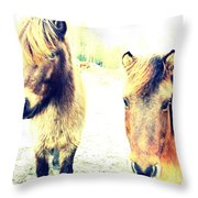 Eager Horses Waiting For Their Simple Dinner Throw Pillow