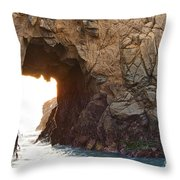 Waiting For Godot - Arch Rock In Pfeiffer Beach In Big Sur. Throw Pillow