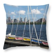 Waiting For Sailors On The Charles Throw Pillow
