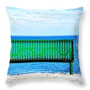 Waiting For Summer - The Green Bench Throw Pillow