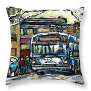 Waiting For The 80 Bus Montreal Memories Winter City Scene Painting January Art Carole Spandau Art Throw Pillow