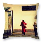 Waiting For The Bus - New York City Street Scene Throw Pillow