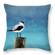 Waiting For The Fishing Boats Throw Pillow