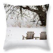 Waiting For The Right Season As An Oil Painting Throw Pillow