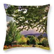 Waiting For The Roses To Bloom Throw Pillow