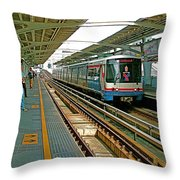 Waiting For The Sky Train In Bangkok-thailand Throw Pillow