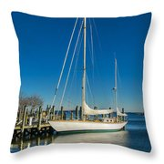 Waiting For Warmer Weather At The Dock Throw Pillow
