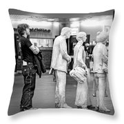 Waiting In Line At Grand Central Terminal 1 - Black And White Throw Pillow