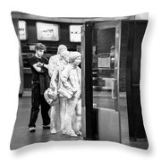 Waiting In Line At Grand Central Terminal 2 - Black And White Throw Pillow