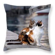 Waiting On The Pier Throw Pillow