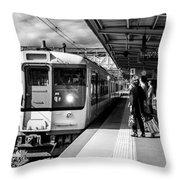 Waiting On Train Throw Pillow
