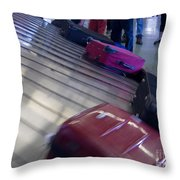 Waiting People Claim Baggage Airport Conveyor Belt Throw Pillow