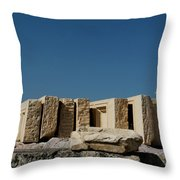 Waiting Tablets At Acropolis Throw Pillow