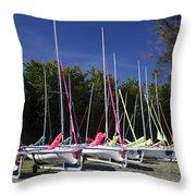Waiting To Sail On Lake Taupo Throw Pillow