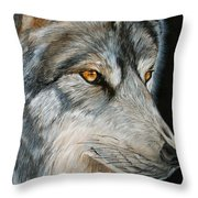 Waiting Wolf Throw Pillow