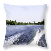 Wake From The Wash Of An Outboard Motor Boat In A Lagoon Throw Pillow