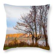 Walk Along The River Bank Throw Pillow