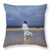 Walk At The Beach Throw Pillow by Joana Kruse