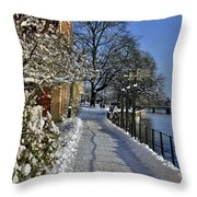 Walk At The Water  Throw Pillow