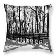 Sunset On Trail Bridge Throw Pillow