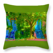 Walk In The City Past Blue Houses Staircases And Shade Trees Montreal Summer Scene Carole Spandau Throw Pillow
