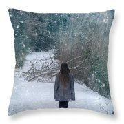Walk In The Snow Throw Pillow