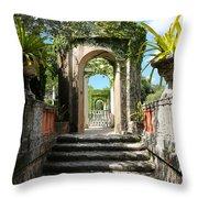 Walk In Vizcaya Gardens Throw Pillow