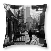 Walk Manhattan 1980s Throw Pillow