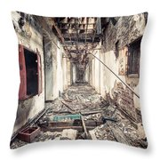 Walk Of Death - Abandoned Asylum Throw Pillow by Gary Heller