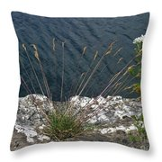 Flowers In Rock Throw Pillow