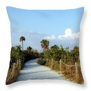 Walk Way To Beach Throw Pillow