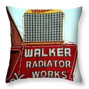 Walker Radiator Works Sign Throw Pillow