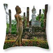 Walking And Sitting Buddha Images At Wat Sa Si In Sukhothai Historical Park-thailand Throw Pillow