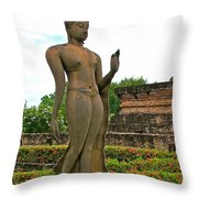 Walking Buddha Image In Wat Sa Si In Sukhothai Historical Park-t Throw Pillow