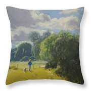 walking down by Borth River Throw Pillow