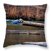 Walking Heron Throw Pillow
