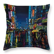 Walking In The City Taipei  Throw Pillow