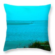 Walking In The Water At Isle Of Palms Throw Pillow