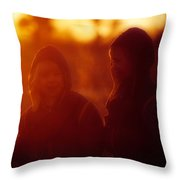 Walking In The Woods, Two Young Boys Throw Pillow