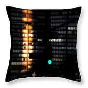 Walking Man - Architecture Of New York City Throw Pillow