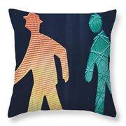 Walking Man Symbol Throw Pillow