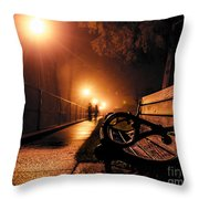 Walking On A Misty Evening Throw Pillow