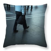 Walking On A Train Station Throw Pillow
